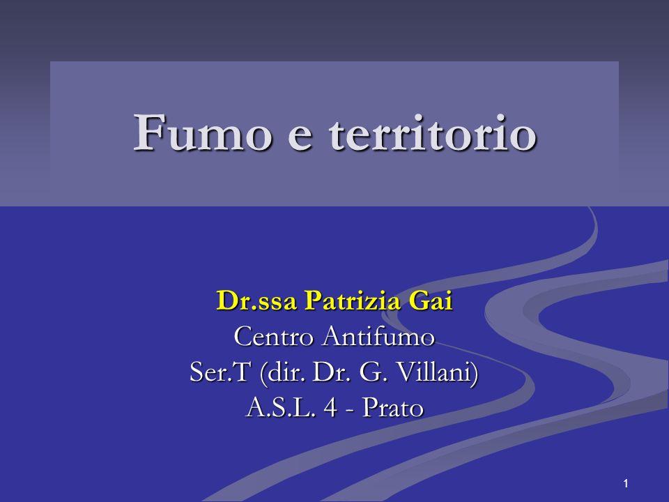 1 Fumo e territorio Dr.ssa Patrizia Gai Centro Antifumo Ser.T (dir. Dr. G. Villani) A.S.L. 4 - Prato