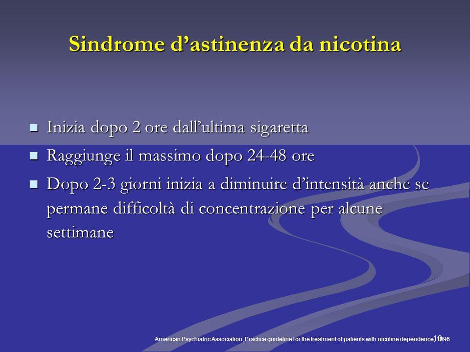 10 Sindrome dastinenza da nicotina Inizia dopo 2 ore dallultima sigaretta Inizia dopo 2 ore dallultima sigaretta Raggiunge il massimo dopo 24-48 ore R