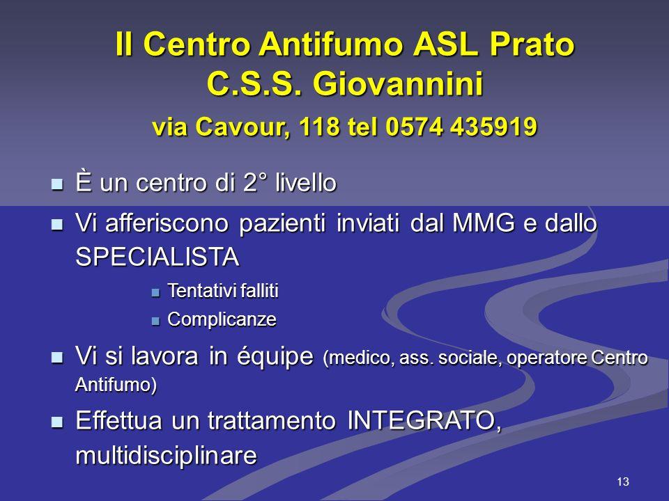 13 Il Centro Antifumo ASL Prato C.S.S. Giovannini via Cavour, 118 tel 0574 435919 È un centro di 2° livello È un centro di 2° livello Vi afferiscono p