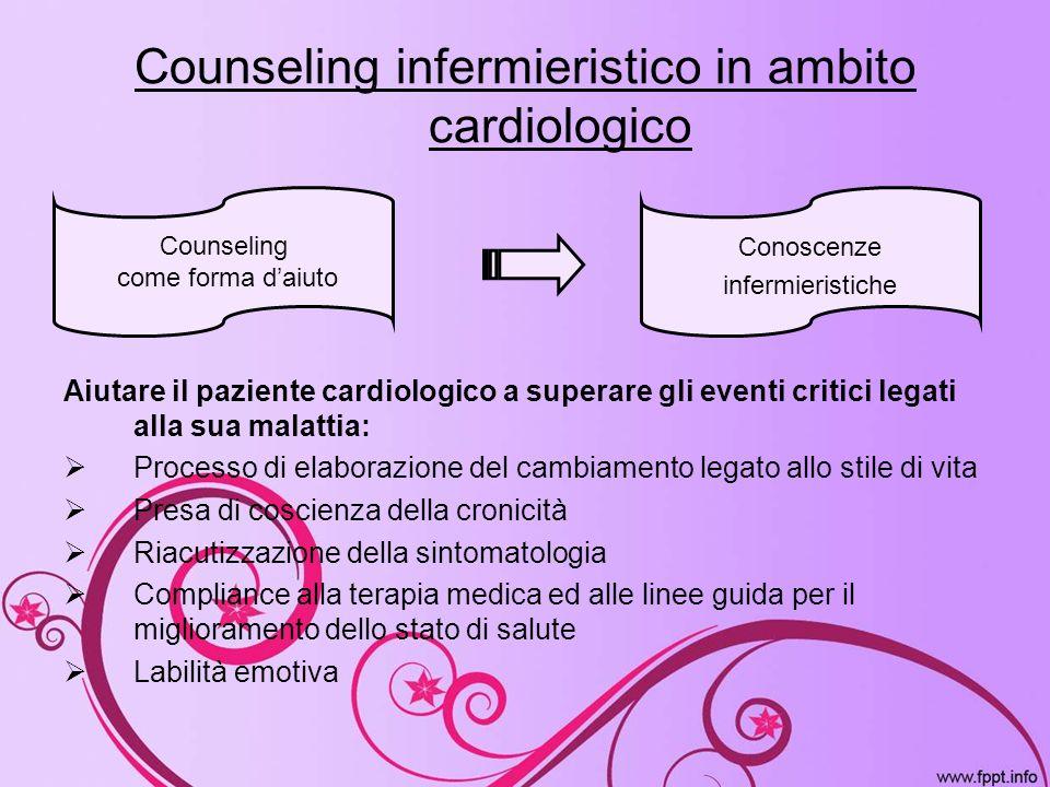 Counseling infermieristico in ambito cardiologico Aiutare il paziente cardiologico a superare gli eventi critici legati alla sua malattia: Processo di