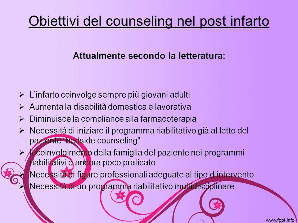 Obiettivi del counseling nel post infarto Attualmente secondo la letteratura: Linfarto coinvolge sempre più giovani adulti Aumenta la disabilità domes