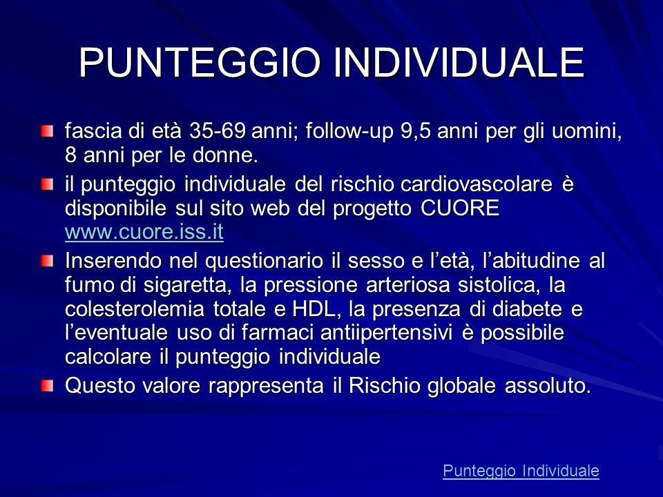 PUNTEGGIO INDIVIDUALE fascia di età 35-69 anni; follow-up 9,5 anni per gli uomini, 8 anni per le donne. il punteggio individuale del rischio cardiovas