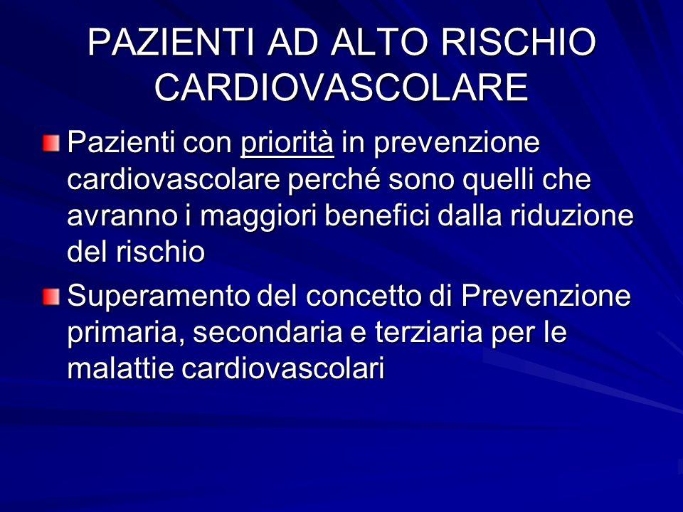 PAZIENTI AD ALTO RISCHIO CARDIOVASCOLARE Pazienti con priorità in prevenzione cardiovascolare perché sono quelli che avranno i maggiori benefici dalla