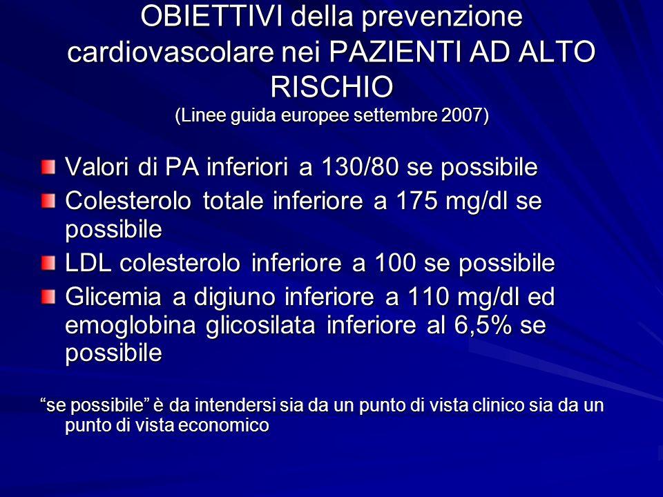 OBIETTIVI della prevenzione cardiovascolare nei PAZIENTI AD ALTO RISCHIO (Linee guida europee settembre 2007) Valori di PA inferiori a 130/80 se possi