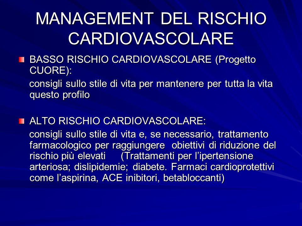 MANAGEMENT DEL RISCHIO CARDIOVASCOLARE BASSO RISCHIO CARDIOVASCOLARE (Progetto CUORE): consigli sullo stile di vita per mantenere per tutta la vita qu