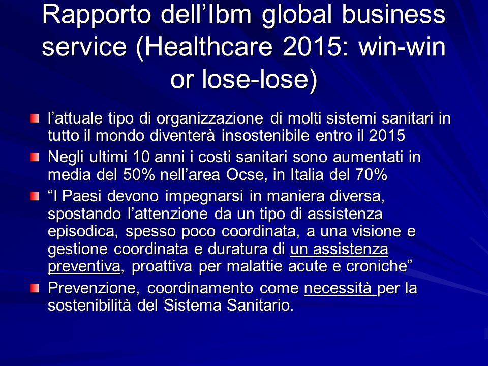 Rapporto dellIbm global business service (Healthcare 2015: win-win or lose-lose) lattuale tipo di organizzazione di molti sistemi sanitari in tutto il