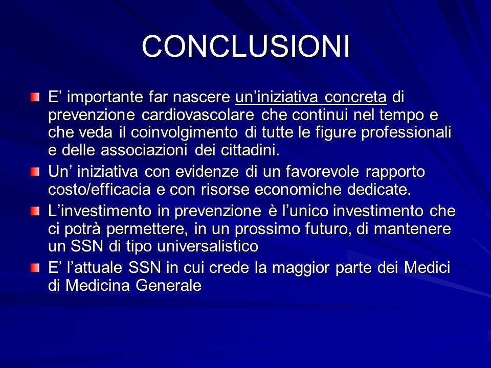 CONCLUSIONI E importante far nascere uniniziativa concreta di prevenzione cardiovascolare che continui nel tempo e che veda il coinvolgimento di tutte