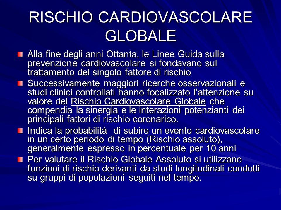 RISCHIO CARDIOVASCOLARE GLOBALE Alla fine degli anni Ottanta, le Linee Guida sulla prevenzione cardiovascolare si fondavano sul trattamento del singol