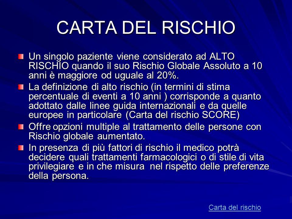 CARTA DEL RISCHIO Un singolo paziente viene considerato ad ALTO RISCHIO quando il suo Rischio Globale Assoluto a 10 anni è maggiore od uguale al 20%.