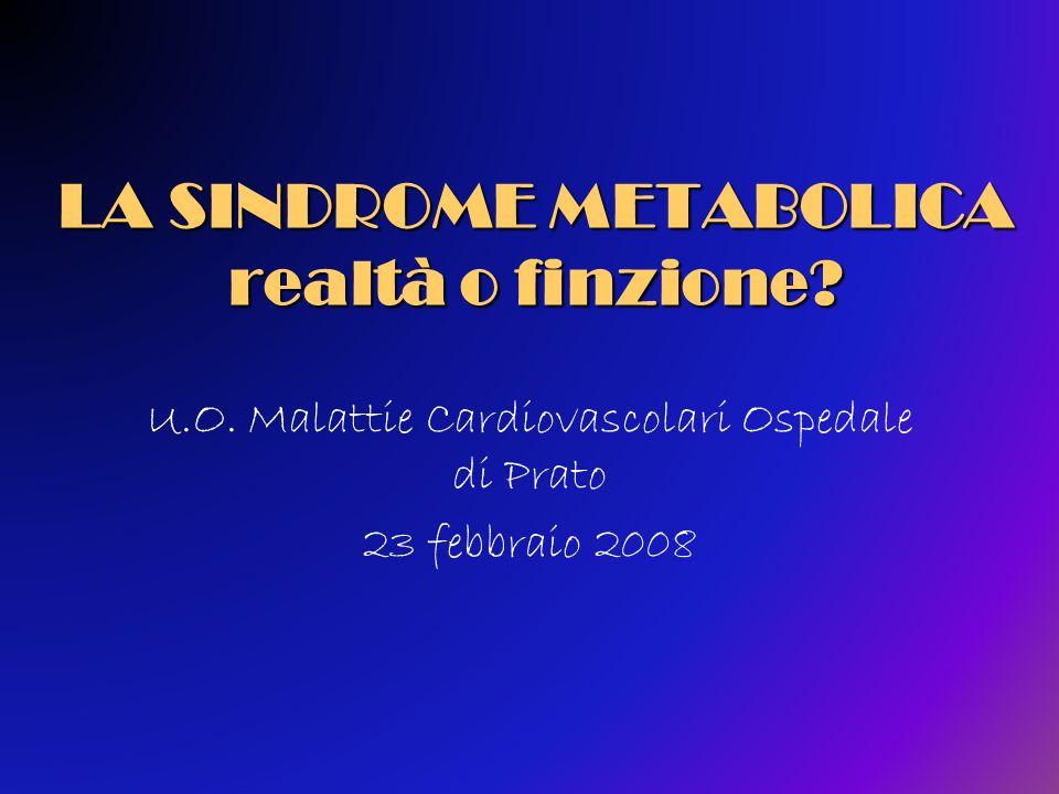 Relazione tra diagnosi di sindrome metabolica (criteri ATP III) e resistenza insulinica (clamp euglicemico) in 443 soggetti non diabetici Sindrome Metabolica Presenza di Insulino Resistenza Assenza di Insulino Resistenza Totale Presente692291 Assente80272352 Totale149294443 Cheal KL, 2004 (rif 46) modificato