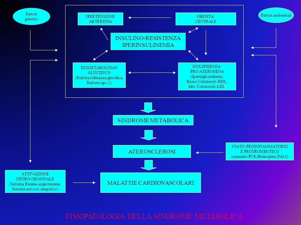 INSULINO-RESISTENZA IPERINSULINEMIA IPERTENSIONE ARTERIOSA DISMETABOLISMO GLUCIDICO (Ridotta tolleranza glucidica, Diabete tipo 2) OBESITA CENTRALE DI