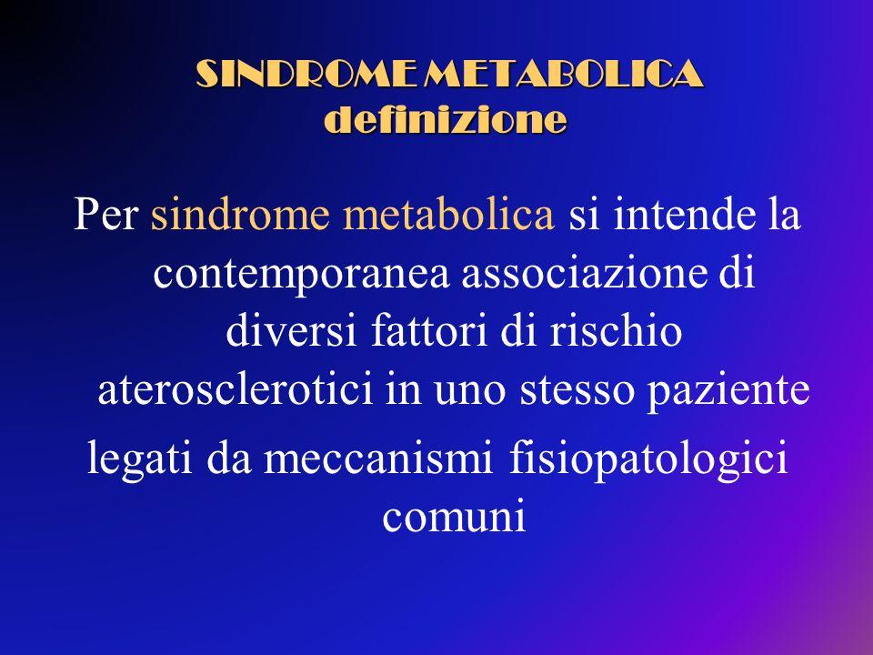 Le componenti più importanti includono: Obesità addominale Dislipidemia Ipertensione Alterazioni del Metabolismo Glicidico (alterata glicemia a digiuno, ridotta tolleranza al glucosio, diabete) SINDROME METABOLICA definizione SINDROME METABOLICA definizione
