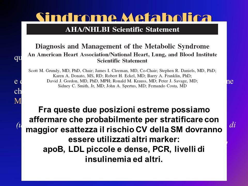 Sindrome Metabolica Esistono quindi due posizioni : quella di chi sostiene che la SM sia unentità clinica autonoma e quella opposta delleditoriale di