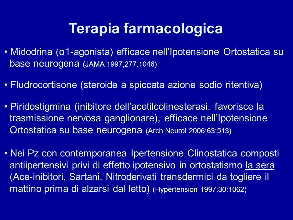 Terapia farmacologica Midodrina (α1-agonista) efficace nellIpotensione Ortostatica su base neurogena (JAMA 1997;277:1046) Fludrocortisone (steroide a