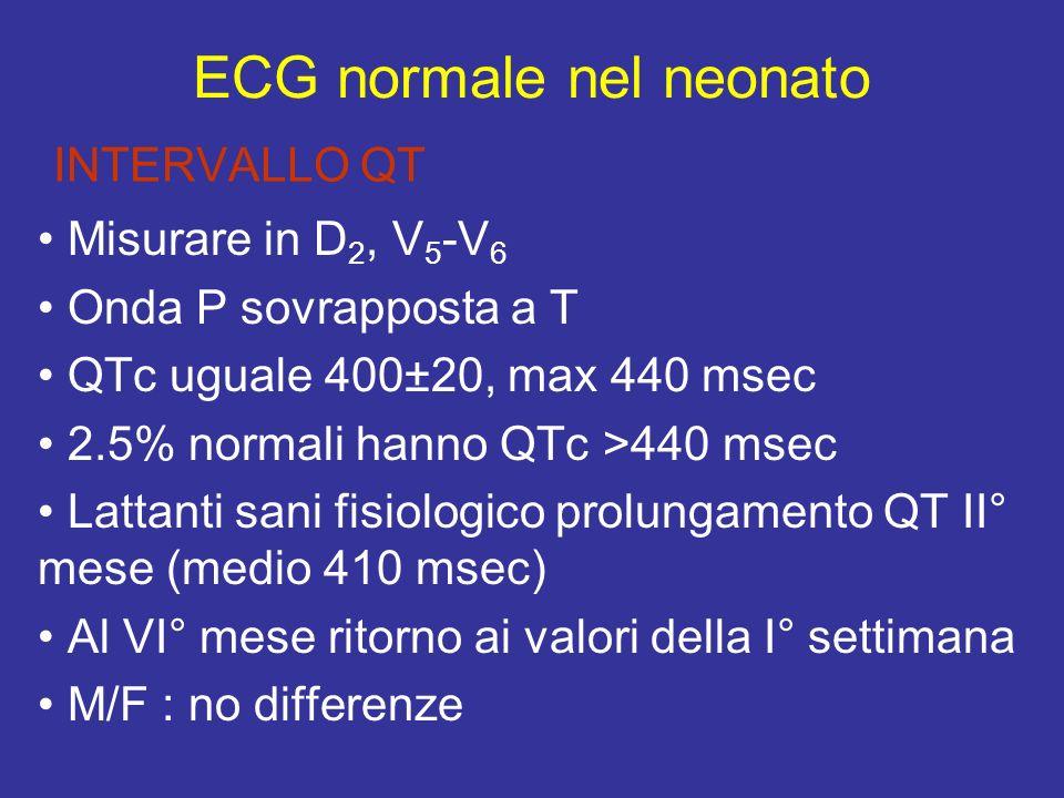 INTERVALLO QT Misurare in D 2, V 5 -V 6 Onda P sovrapposta a T QTc uguale 400±20, max 440 msec 2.5% normali hanno QTc >440 msec Lattanti sani fisiolog