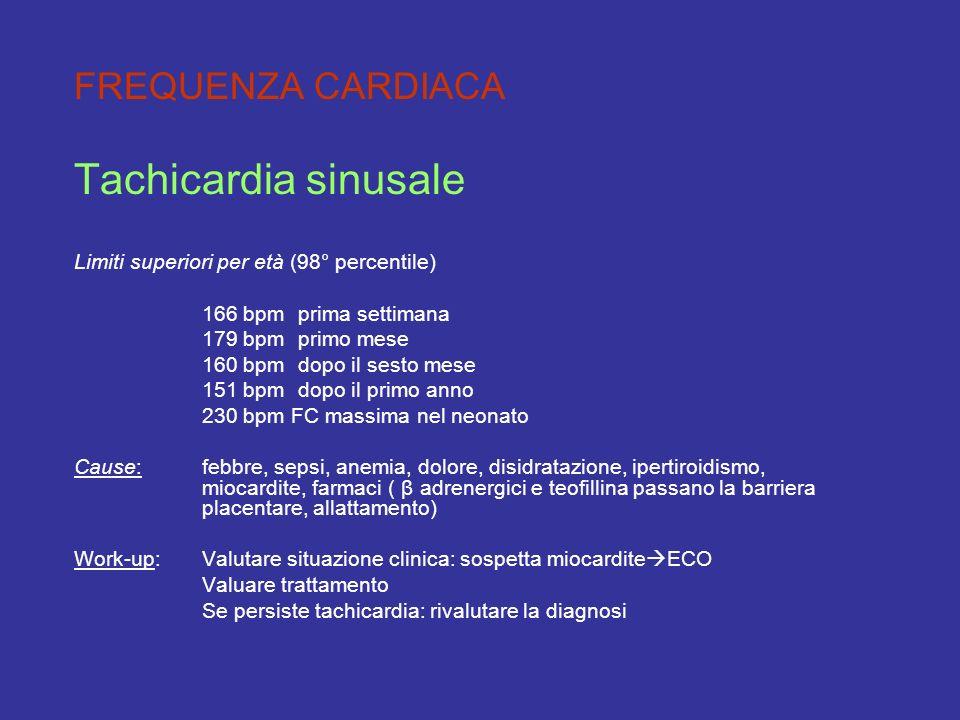 FREQUENZA CARDIACA Tachicardia sinusale Limiti superiori per età (98° percentile) 166 bpmprima settimana 179 bpmprimo mese 160 bpmdopo il sesto mese 1