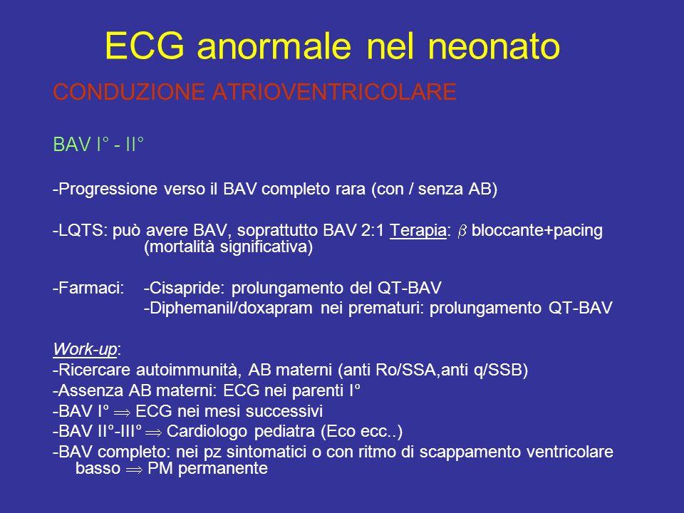 CONDUZIONE ATRIOVENTRICOLARE BAV I° - II° -Progressione verso il BAV completo rara (con / senza AB) -LQTS: può avere BAV, soprattutto BAV 2:1 Terapia: