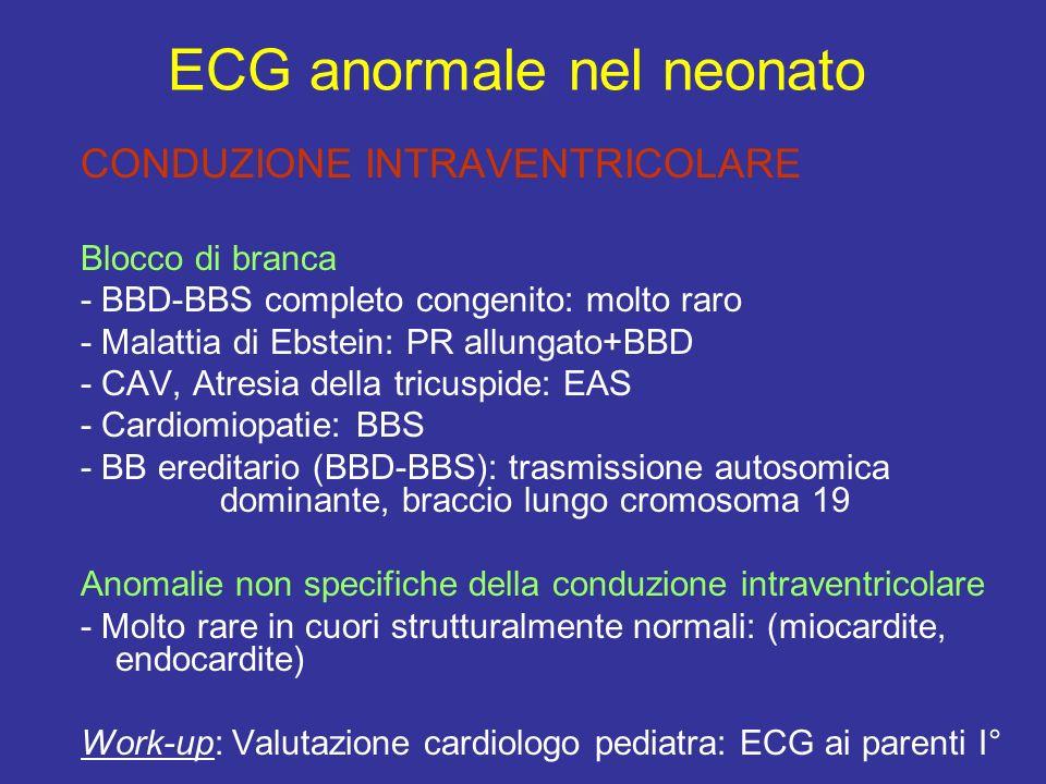 CONDUZIONE INTRAVENTRICOLARE Blocco di branca - BBD-BBS completo congenito: molto raro - Malattia di Ebstein: PR allungato+BBD - CAV, Atresia della tr