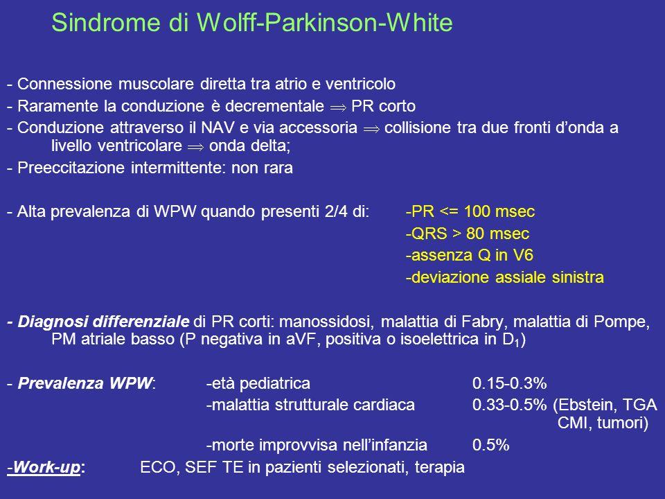 Sindrome di Wolff-Parkinson-White - Connessione muscolare diretta tra atrio e ventricolo - Raramente la conduzione è decrementale PR corto - Conduzion