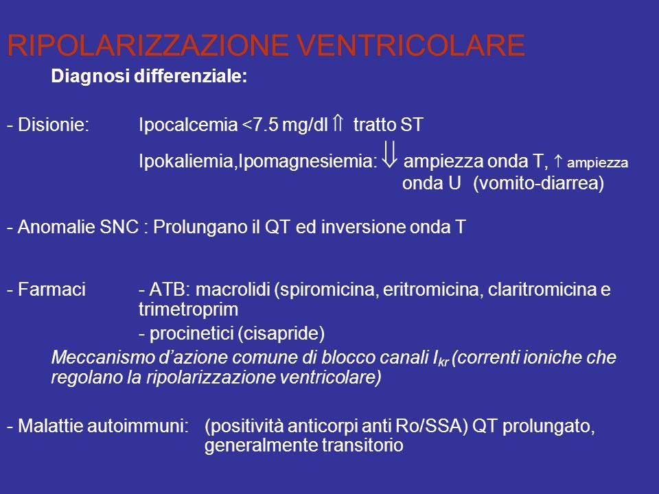 RIPOLARIZZAZIONE VENTRICOLARE Diagnosi differenziale: - Disionie:Ipocalcemia <7.5 mg/dl tratto ST Ipokaliemia,Ipomagnesiemia: ampiezza onda T, ampiezz