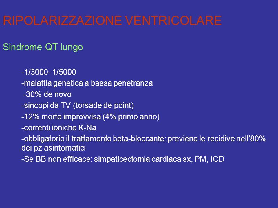 RIPOLARIZZAZIONE VENTRICOLARE Sindrome QT lungo -1/3000- 1/5000 -malattia genetica a bassa penetranza -30% de novo -sincopi da TV (torsade de point) -