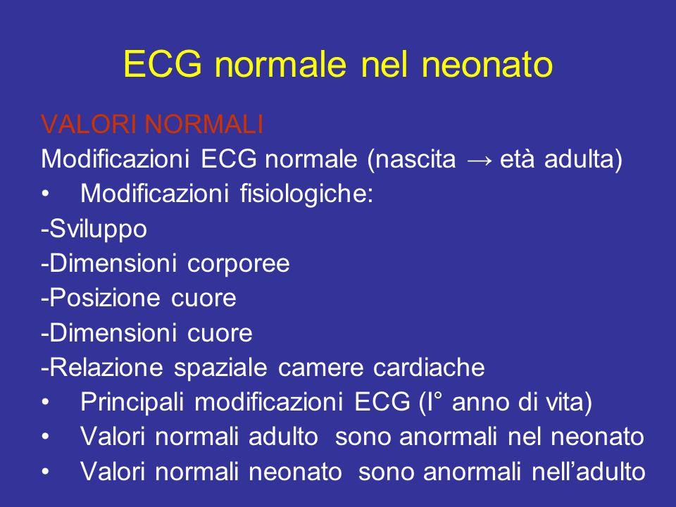 ECG normale nel neonato VALORI NORMALI Modificazioni ECG normale (nascita età adulta) Modificazioni fisiologiche: -Sviluppo -Dimensioni corporee -Posi
