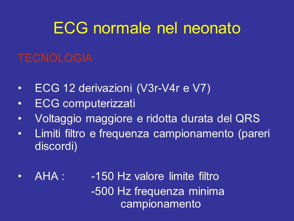 TECNOLOGIA ECG 12 derivazioni (V3r-V4r e V7) ECG computerizzati Voltaggio maggiore e ridotta durata del QRS Limiti filtro e frequenza campionamento (p