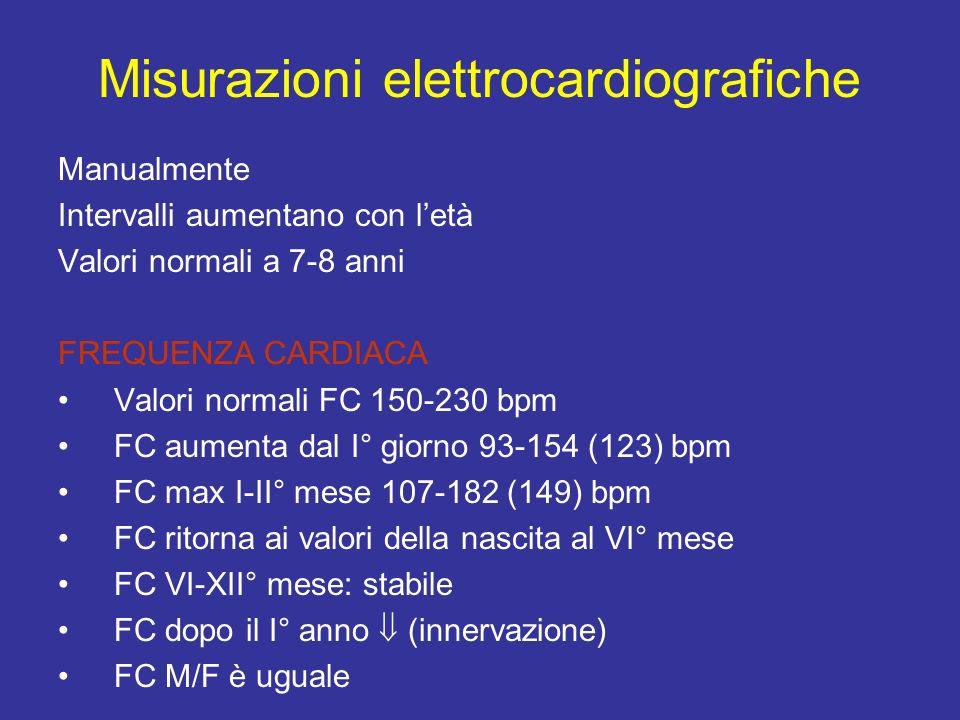 Manualmente Intervalli aumentano con letà Valori normali a 7-8 anni FREQUENZA CARDIACA Valori normali FC 150-230 bpm FC aumenta dal I° giorno 93-154 (