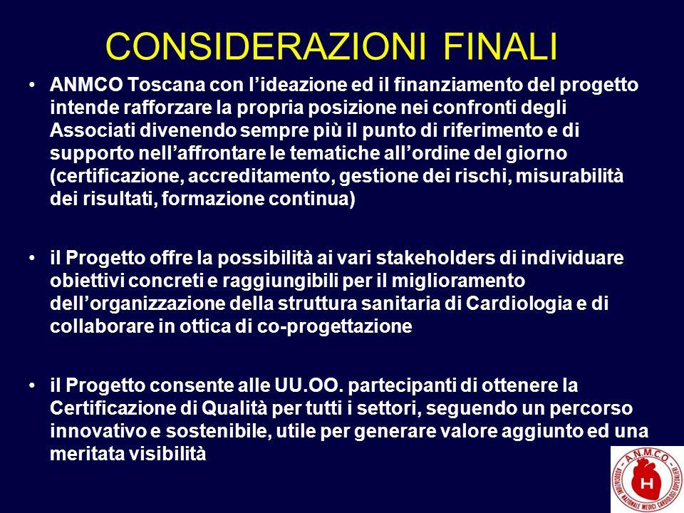 CONSIDERAZIONI FINALI ANMCO Toscana con lideazione ed il finanziamento del progetto intende rafforzare la propria posizione nei confronti degli Associ