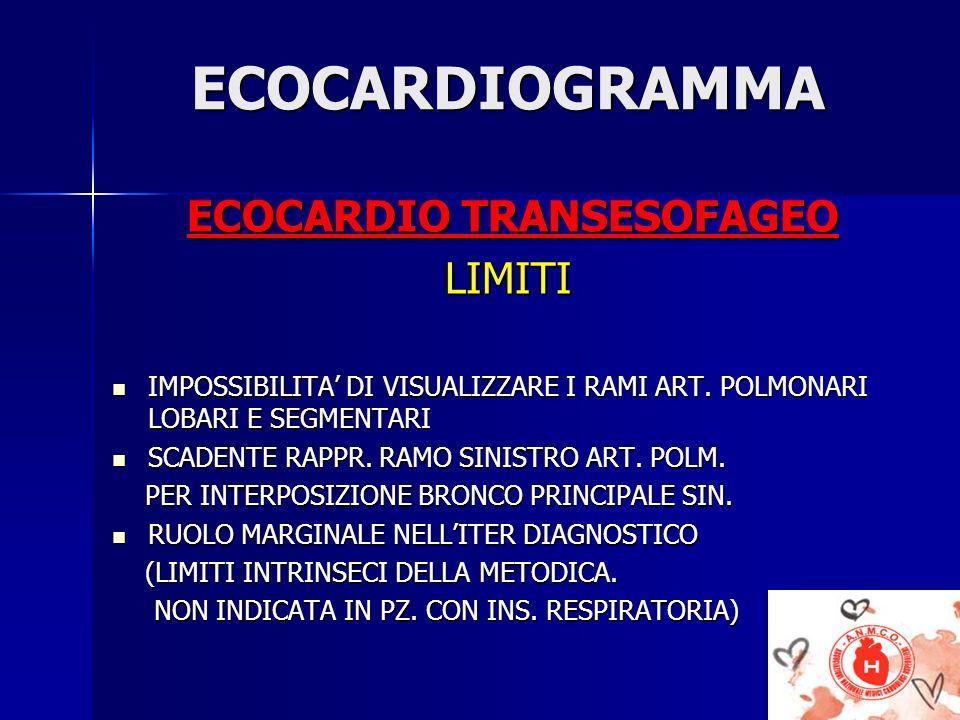 ECOCARDIOGRAMMA ECOCARDIO TRANSESOFAGEO ECOCARDIO TRANSESOFAGEO LIMITI LIMITI IMPOSSIBILITA DI VISUALIZZARE I RAMI ART. POLMONARI LOBARI E SEGMENTARI
