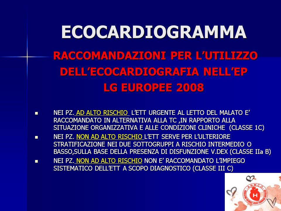ECOCARDIOGRAMMA ECOCARDIOGRAMMA RACCOMANDAZIONI PER LUTILIZZO RACCOMANDAZIONI PER LUTILIZZO DELLECOCARDIOGRAFIA NELLEP LG EUROPEE 2008 NEI PZ. AD ALTO