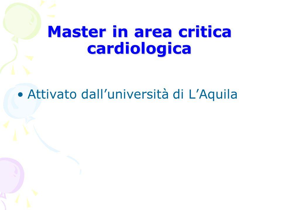 Master in area critica cardiologica Attivato dalluniversità di LAquila