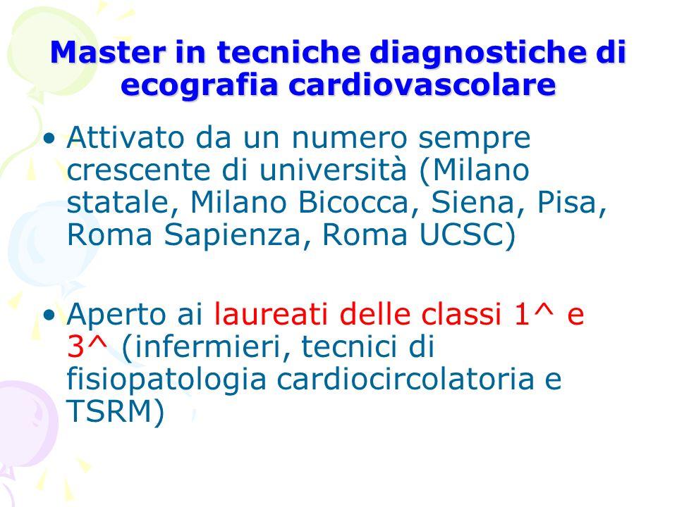 Master in tecniche diagnostiche di ecografia cardiovascolare Attivato da un numero sempre crescente di università (Milano statale, Milano Bicocca, Sie