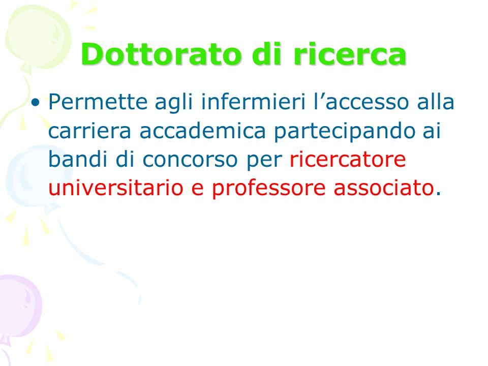 Dottorato di ricerca Permette agli infermieri laccesso alla carriera accademica partecipando ai bandi di concorso per ricercatore universitario e prof