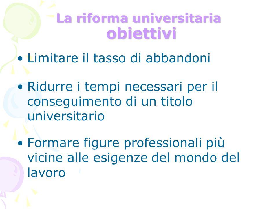La riforma universitaria obiettivi Limitare il tasso di abbandoni Ridurre i tempi necessari per il conseguimento di un titolo universitario Formare fi