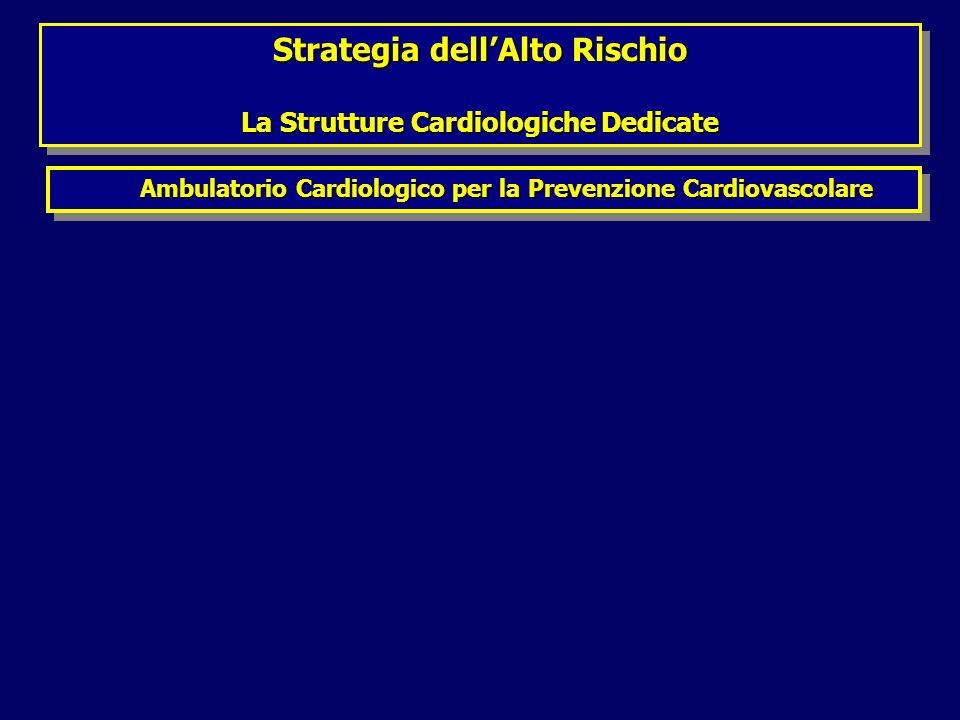 Strategia dellAlto Rischio La Strutture Cardiologiche Dedicate Strategia dellAlto Rischio La Strutture Cardiologiche Dedicate Ambulatorio Cardiologico per la Prevenzione Cardiovascolare Ambulatorio Cardiologico per la Prevenzione Cardiovascolare