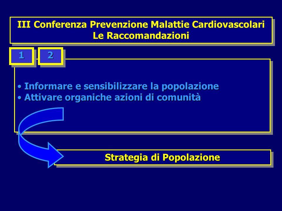 Implementare i percorsi di prevenzione Implementare i percorsi di prevenzione secondaria e riabilitativi secondaria e riabilitativi Implementare i percorsi di prevenzione Implementare i percorsi di prevenzione secondaria e riabilitativi secondaria e riabilitativi 66 Prevenzione Secondaria e Riabilitazione III Conferenza Prevenzione Malattie Cardiovascolari Le Raccomandazioni III Conferenza Prevenzione Malattie Cardiovascolari Le Raccomandazioni