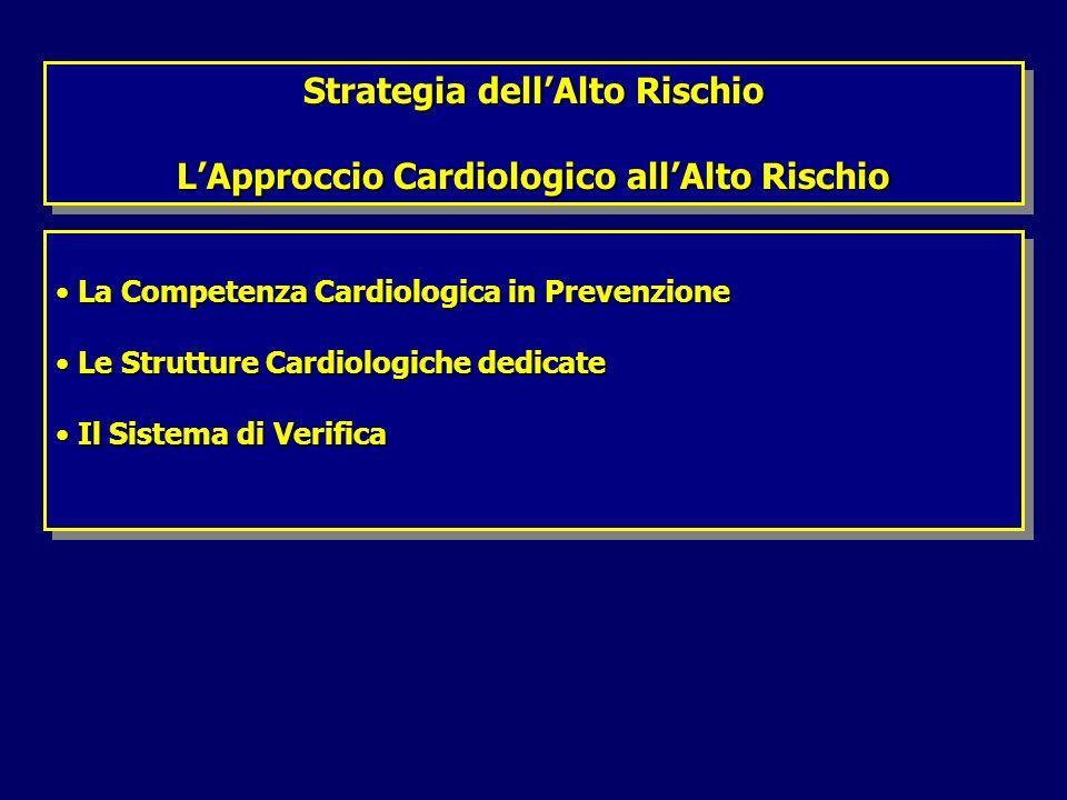 La Competenza Cardiologica in Prevenzione La Competenza Cardiologica in Prevenzione Le Strutture Cardiologiche dedicate Le Strutture Cardiologiche dedicate Il Sistema di Verifica Il Sistema di Verifica La Competenza Cardiologica in Prevenzione La Competenza Cardiologica in Prevenzione Le Strutture Cardiologiche dedicate Le Strutture Cardiologiche dedicate Il Sistema di Verifica Il Sistema di Verifica Strategia dellAlto Rischio LApproccio Cardiologico allAlto Rischio Strategia dellAlto Rischio LApproccio Cardiologico allAlto Rischio