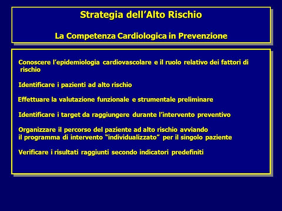 Strategia dellAlto Rischio La Competenza Cardiologica in Prevenzione Strategia dellAlto Rischio La Competenza Cardiologica in Prevenzione Conoscere lepidemiologia cardiovascolare e il ruolo relativo dei fattori di Conoscere lepidemiologia cardiovascolare e il ruolo relativo dei fattori di rischio rischio Identificare i pazienti ad alto rischio Identificare i pazienti ad alto rischio Effettuare la valutazione funzionale e strumentale preliminare Effettuare la valutazione funzionale e strumentale preliminare Identificare i target da raggiungere durante lintervento preventivo Identificare i target da raggiungere durante lintervento preventivo Organizzare il percorso del paziente ad alto rischio avviando Organizzare il percorso del paziente ad alto rischio avviando il programma di intervento individualizzato per il singolo paziente il programma di intervento individualizzato per il singolo paziente Verificare i risultati raggiunti secondo indicatori predefiniti Verificare i risultati raggiunti secondo indicatori predefiniti Conoscere lepidemiologia cardiovascolare e il ruolo relativo dei fattori di Conoscere lepidemiologia cardiovascolare e il ruolo relativo dei fattori di rischio rischio Identificare i pazienti ad alto rischio Identificare i pazienti ad alto rischio Effettuare la valutazione funzionale e strumentale preliminare Effettuare la valutazione funzionale e strumentale preliminare Identificare i target da raggiungere durante lintervento preventivo Identificare i target da raggiungere durante lintervento preventivo Organizzare il percorso del paziente ad alto rischio avviando Organizzare il percorso del paziente ad alto rischio avviando il programma di intervento individualizzato per il singolo paziente il programma di intervento individualizzato per il singolo paziente Verificare i risultati raggiunti secondo indicatori predefiniti Verificare i risultati raggiunti secondo indicatori predefiniti