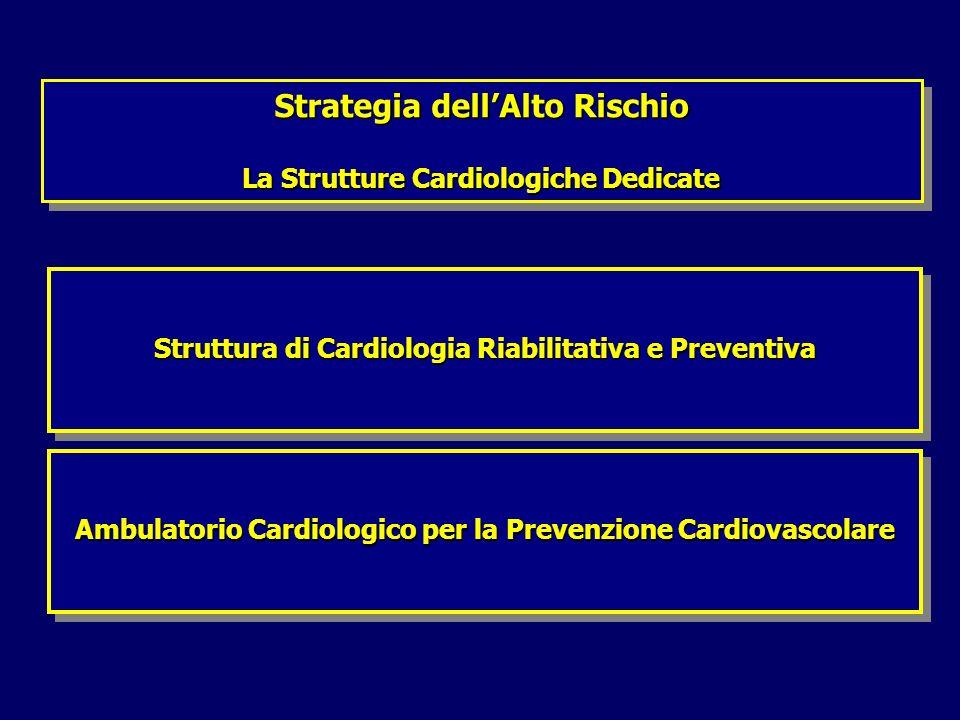 Strategia dellAlto Rischio La Strutture Cardiologiche Dedicate Strategia dellAlto Rischio La Strutture Cardiologiche Dedicate Struttura di Cardiologia Riabilitativa e Preventiva Ambulatorio Cardiologico per la Prevenzione Cardiovascolare