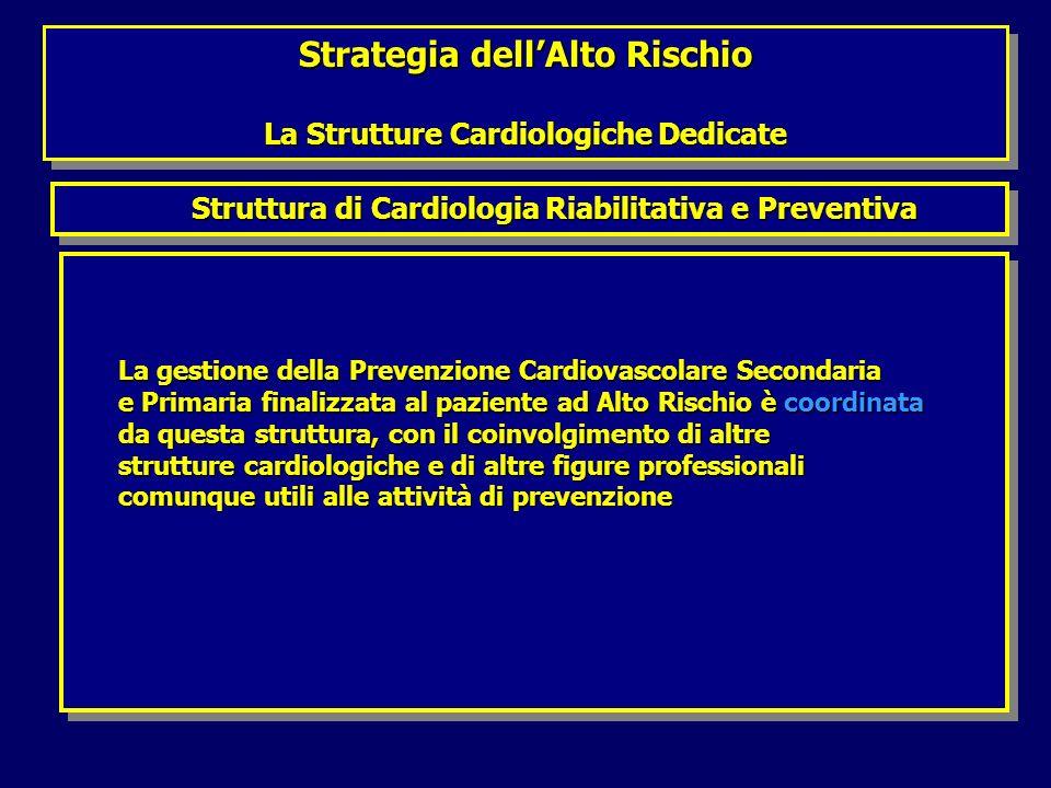 Strategia dellAlto Rischio La Strutture Cardiologiche Dedicate Strategia dellAlto Rischio La Strutture Cardiologiche Dedicate Struttura di Cardiologia Riabilitativa e Preventiva Struttura di Cardiologia Riabilitativa e Preventiva La gestione della Prevenzione Cardiovascolare Secondaria La gestione della Prevenzione Cardiovascolare Secondaria e Primaria finalizzata al paziente ad Alto Rischio è coordinata e Primaria finalizzata al paziente ad Alto Rischio è coordinata da questa struttura, con il coinvolgimento di altre da questa struttura, con il coinvolgimento di altre strutture cardiologiche e di altre figure professionali strutture cardiologiche e di altre figure professionali comunque utili alle attività di prevenzione comunque utili alle attività di prevenzione La gestione della Prevenzione Cardiovascolare Secondaria La gestione della Prevenzione Cardiovascolare Secondaria e Primaria finalizzata al paziente ad Alto Rischio è coordinata e Primaria finalizzata al paziente ad Alto Rischio è coordinata da questa struttura, con il coinvolgimento di altre da questa struttura, con il coinvolgimento di altre strutture cardiologiche e di altre figure professionali strutture cardiologiche e di altre figure professionali comunque utili alle attività di prevenzione comunque utili alle attività di prevenzione
