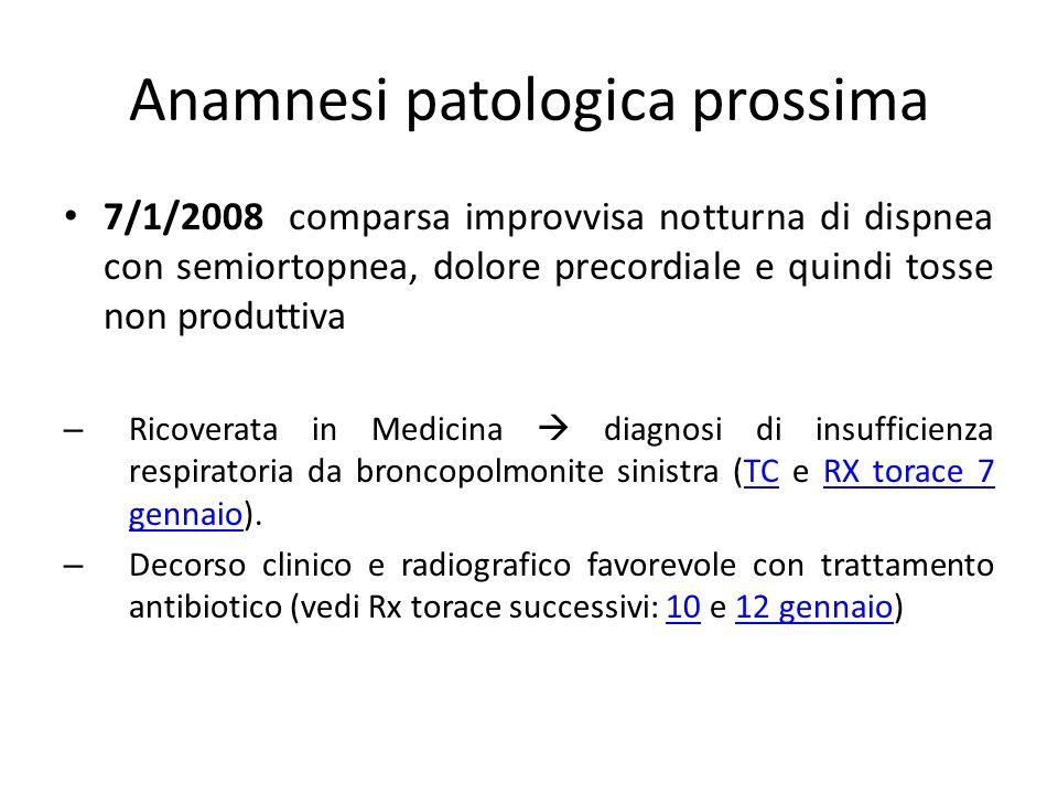 Anamnesi patologica prossima 7/1/2008 comparsa improvvisa notturna di dispnea con semiortopnea, dolore precordiale e quindi tosse non produttiva – Ric
