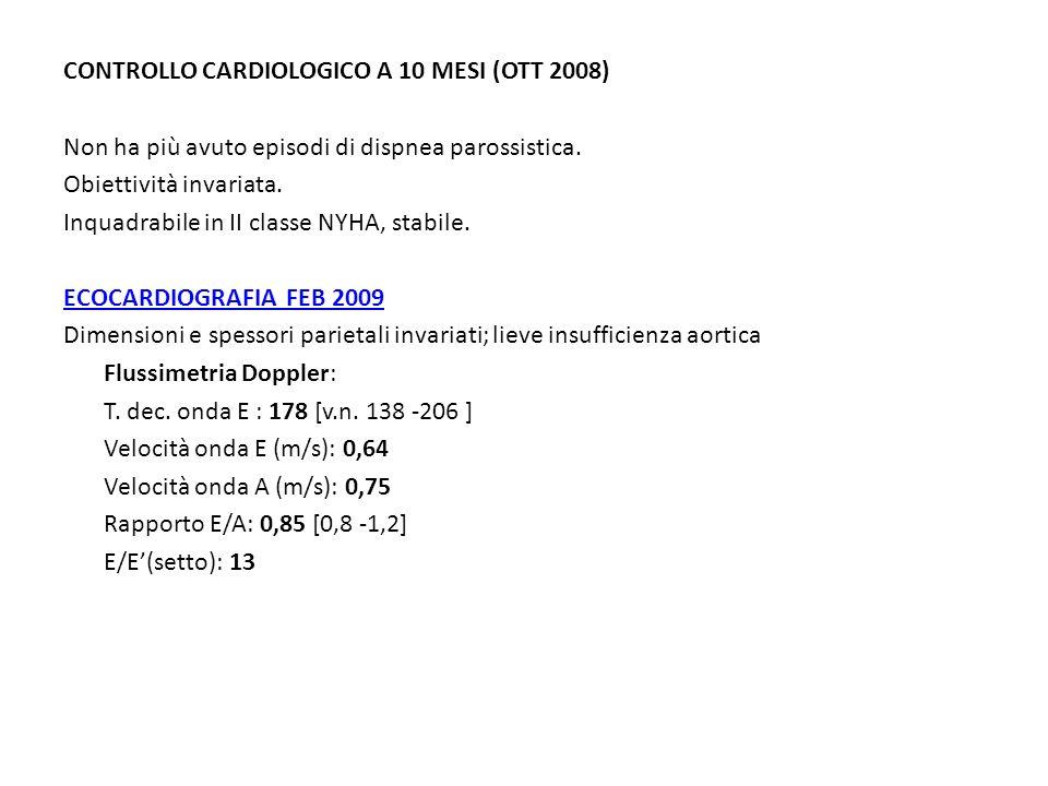 CONTROLLO CARDIOLOGICO A 10 MESI (OTT 2008) Non ha più avuto episodi di dispnea parossistica. Obiettività invariata. Inquadrabile in II classe NYHA, s