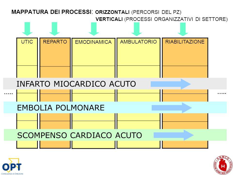 MAPPATURA DEI PROCESSI : ORIZZONTALI (PERCORSI DEL PZ) VERTICALI (PROCESSI ORGANIZZATIVI DI SETTORE) UTIC EMODINAMICA REPARTORIABILITAZIONE AMBULATORI