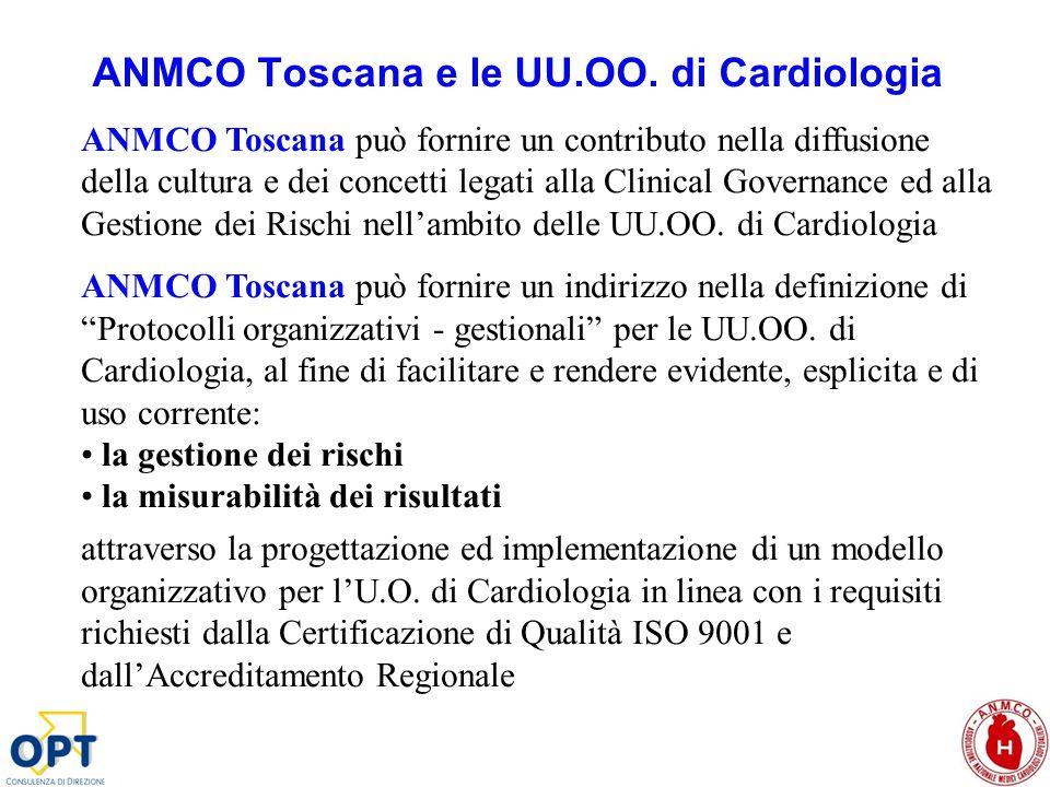 ANMCO Toscana e le UU.OO. di Cardiologia ANMCO Toscana può fornire un contributo nella diffusione della cultura e dei concetti legati alla Clinical Go