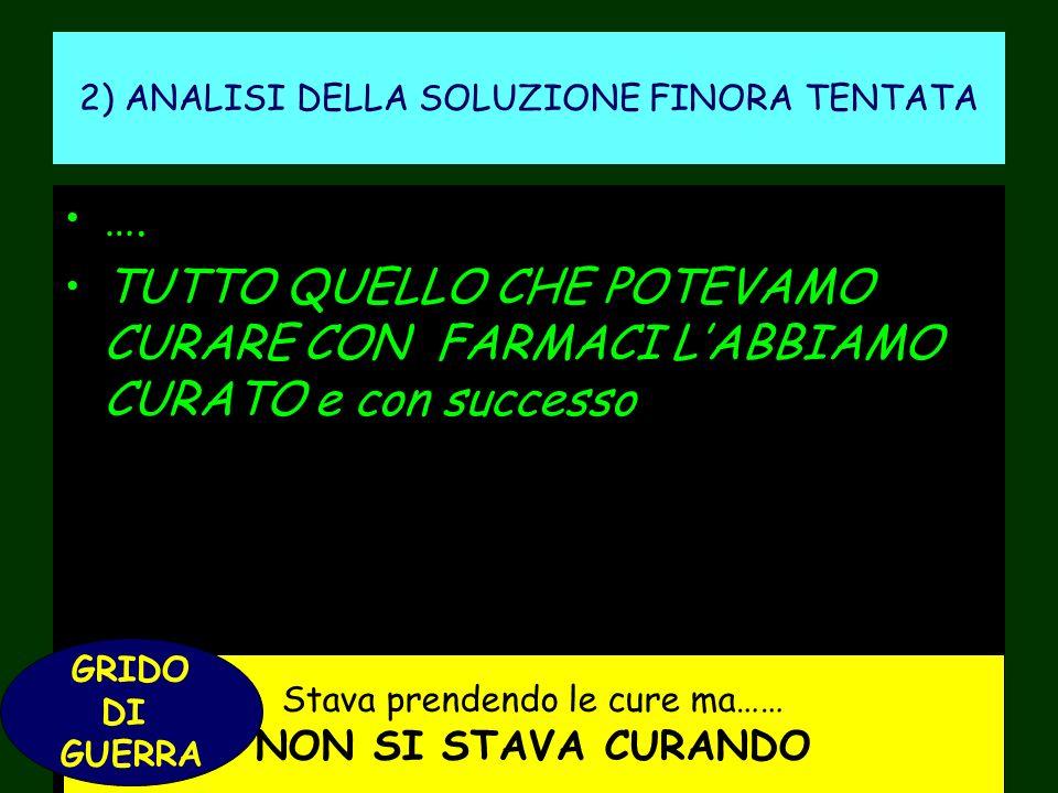 2) ANALISI DELLA SOLUZIONE FINORA TENTATA ….