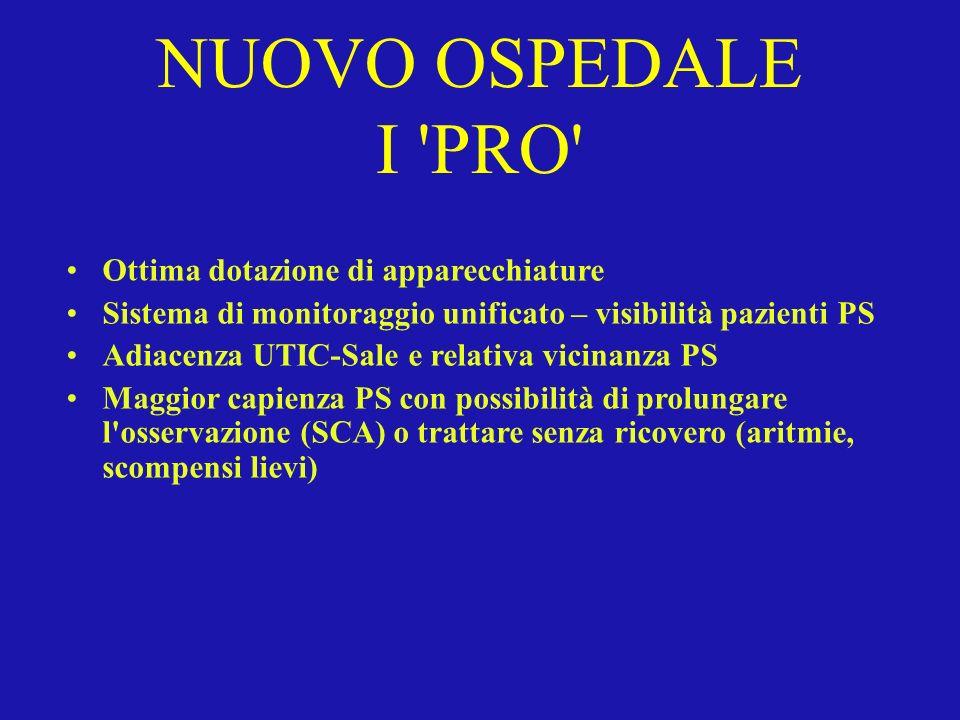 NUOVO OSPEDALE I 'PRO' Ottima dotazione di apparecchiature Sistema di monitoraggio unificato – visibilità pazienti PS Adiacenza UTIC-Sale e relativa v