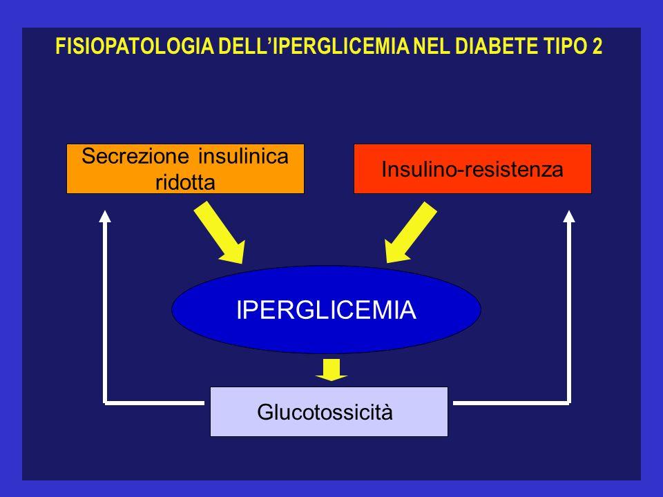 FISIOPATOLOGIA DELLIPERGLICEMIA NEL DIABETE TIPO 2 Secrezione insulinica ridotta Insulino-resistenza IPERGLICEMIA Glucotossicità