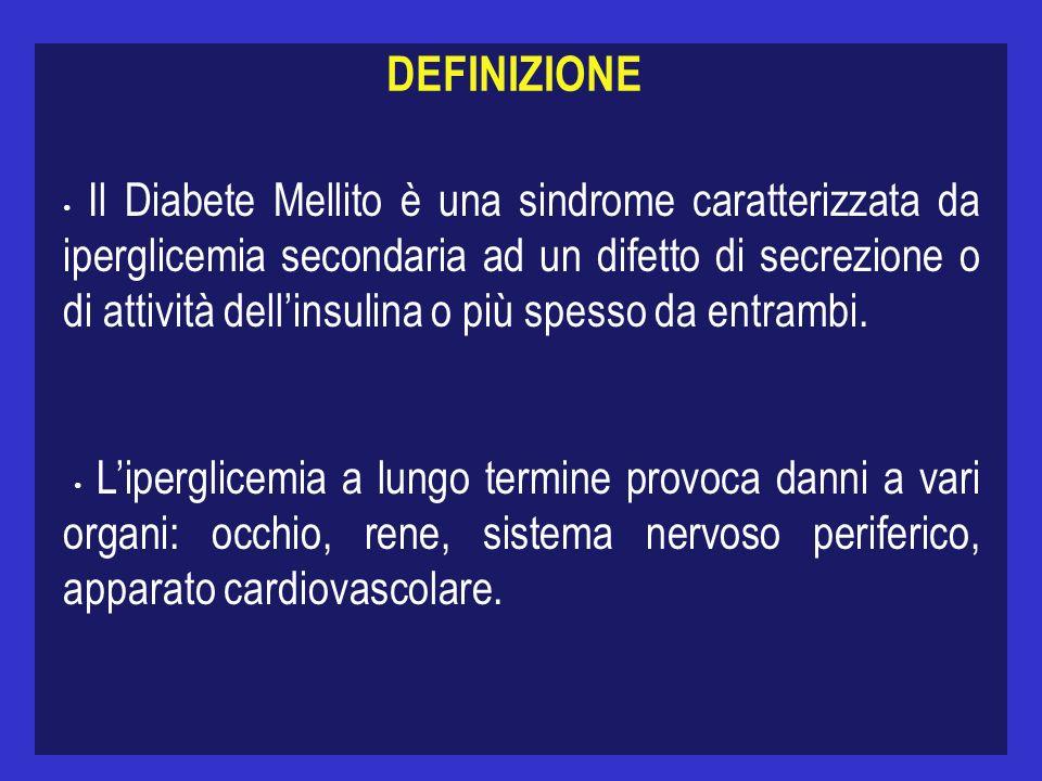 DEFINIZIONE Il Diabete Mellito è una sindrome caratterizzata da iperglicemia secondaria ad un difetto di secrezione o di attività dellinsulina o più spesso da entrambi.