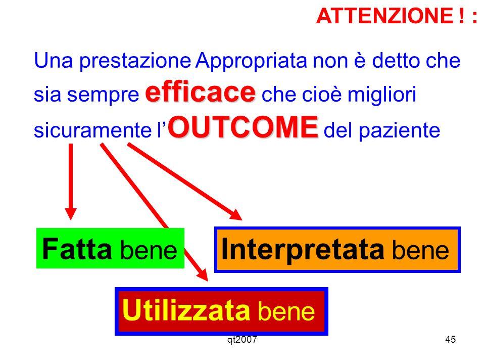 qt200745 ATTENZIONE ! : efficace OUTCOME Una prestazione Appropriata non è detto che sia sempre efficace che cioè migliori sicuramente l OUTCOME del p